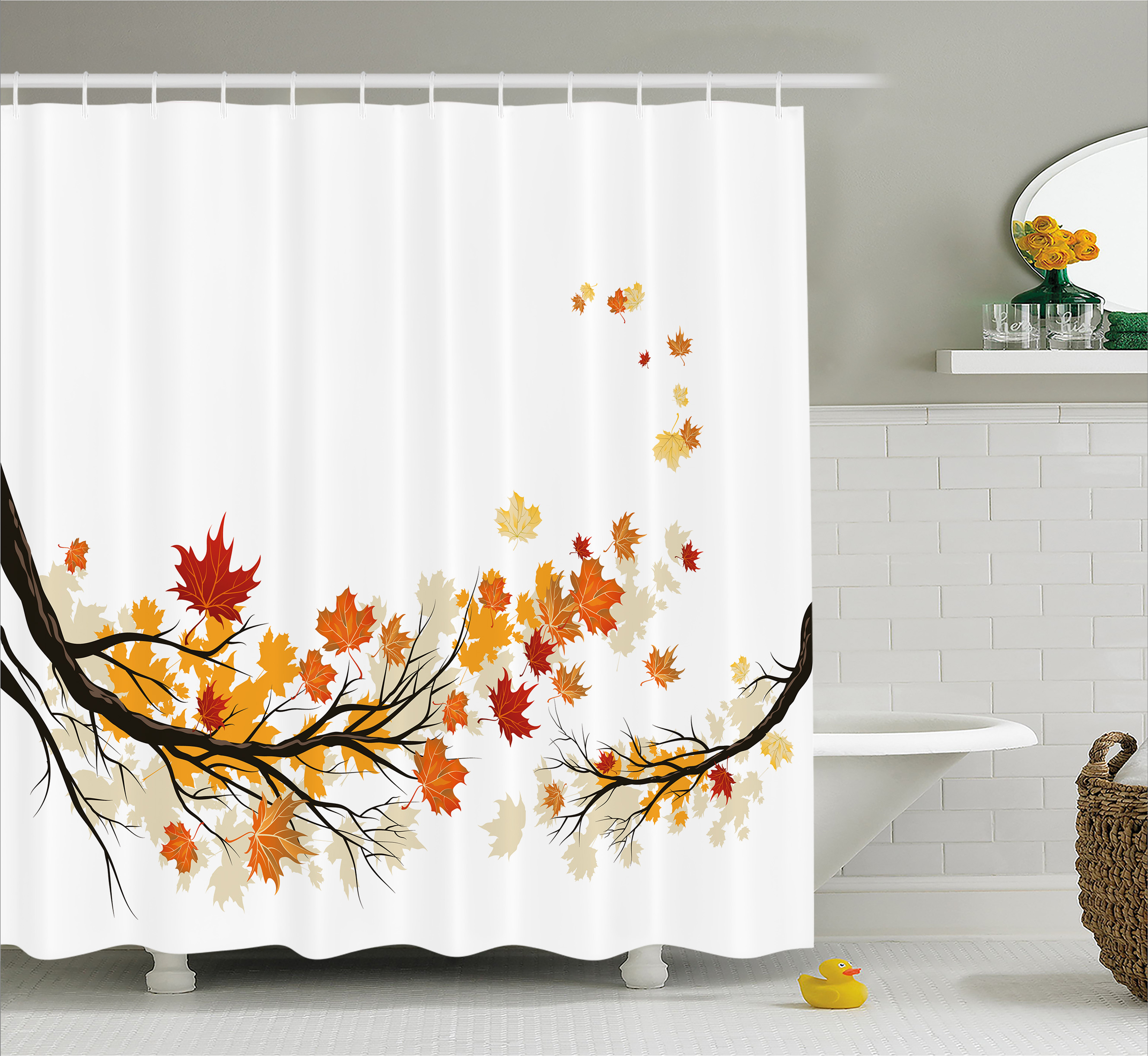 Fall Decorations Shower Curtain, Swirling Bended Fall Branches With Colored  Leaves Pastoral Season Print,