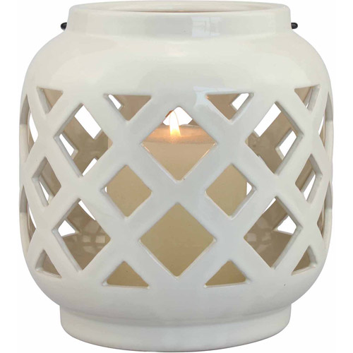 Better Homes and Gardens Small Cream Ceramic Lantern