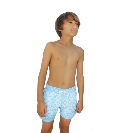 436430b408bc6 Azul Little Boys Light Blue African Mask Drawstring Tie Swimwear Shorts