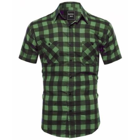 Hawks Bay Men's Plaid Shirt Casual Button-Down Green Medium](Halloween Stores In Green Bay)