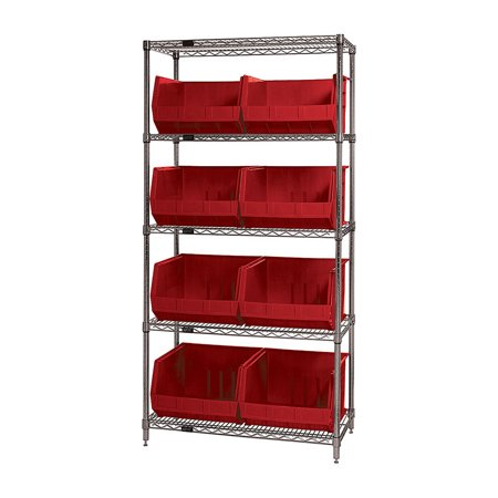 Quantum Wire Shelving Units Complete With Ultra Bins Red ()