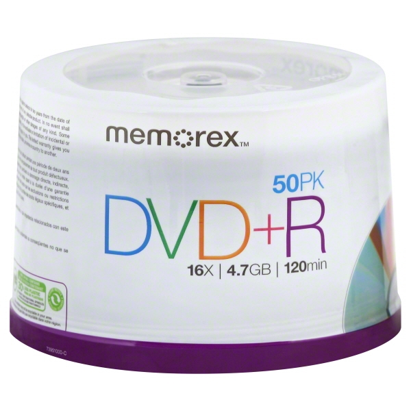 Memorex DVD+R Discs, 4.7GB, 16x, Spindle, Silver, 50/Pack