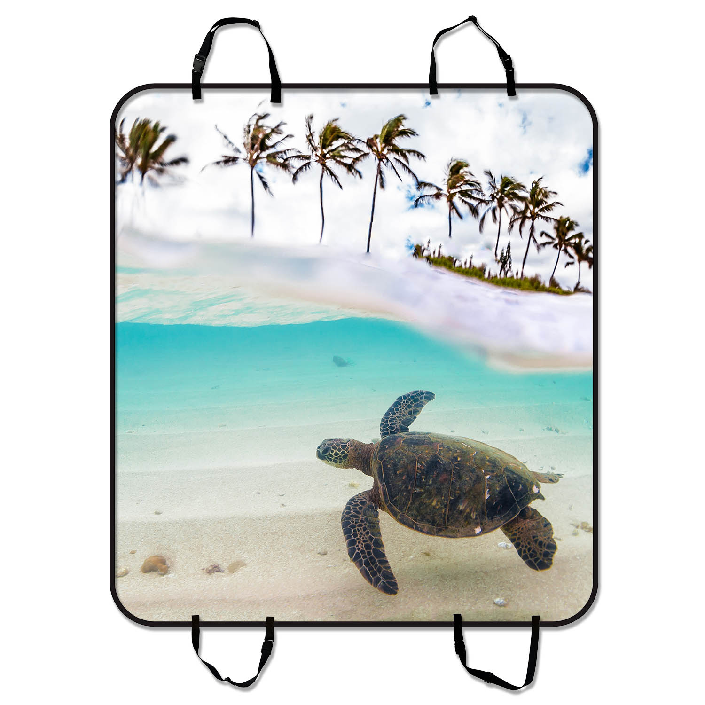 YKCG Tropical Sand Beach Palm Tree Underwater Sea Turtle ...