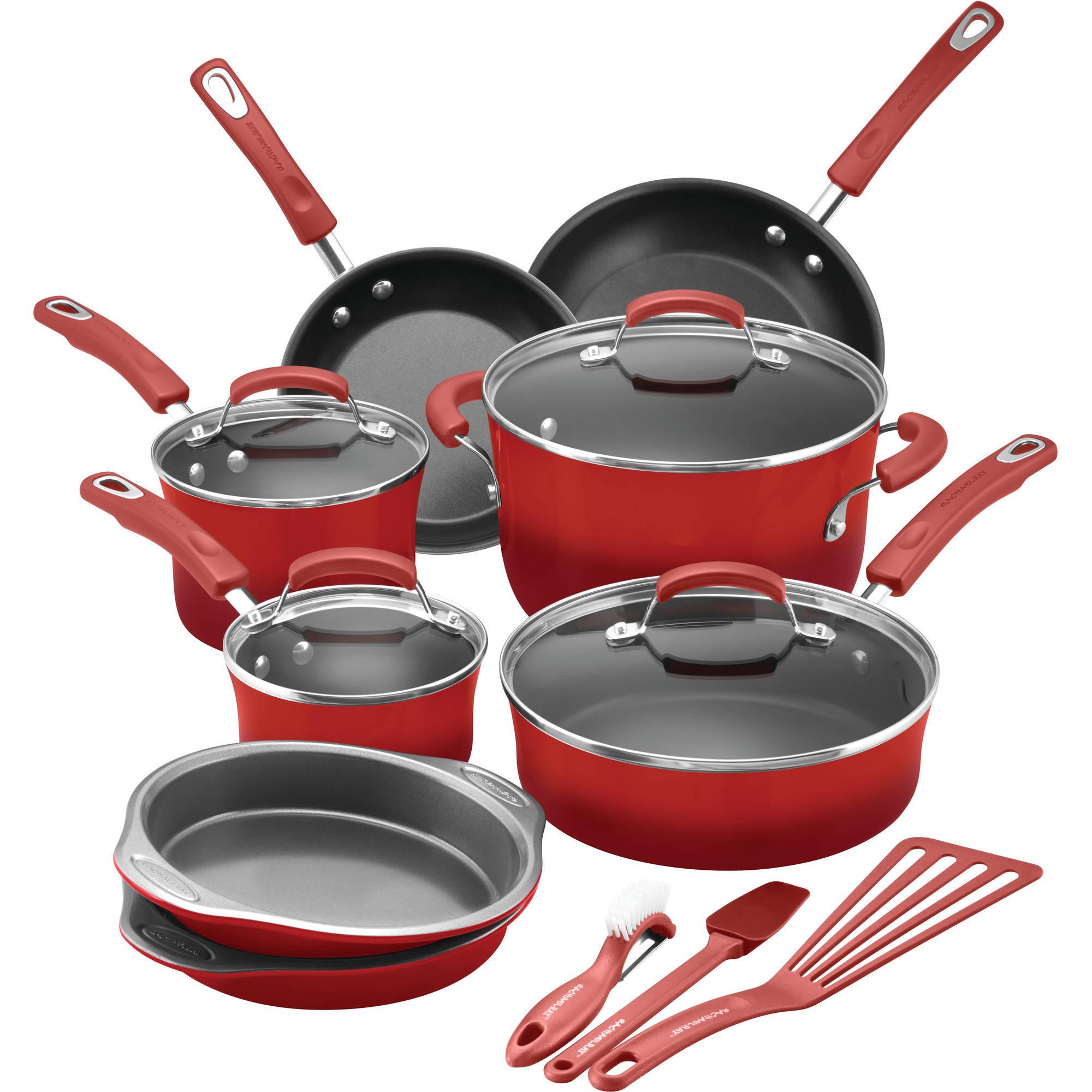 Rachael Ray 15-Piece Hard Enamel Nonstick Cookware Set