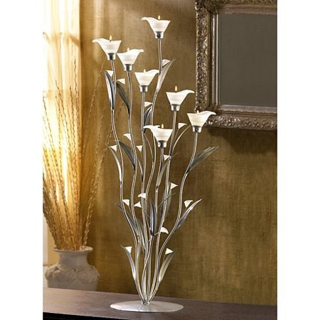 - Zingz and Thingz Table Top Silver Calla Lily Tea Light Candle Holder