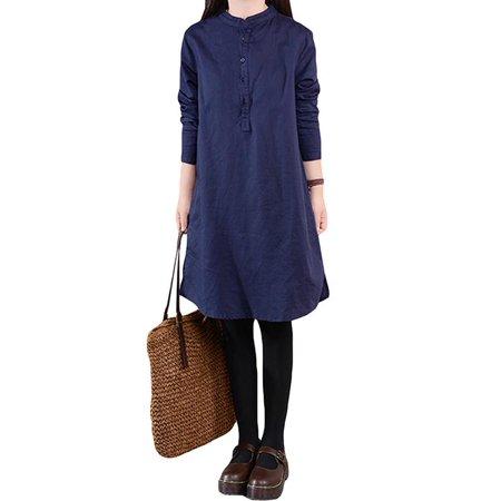 5b196735038e9 ZANZEA - Womens Dresses Stand Collar Buttons Down Long Sleeve Baggy Loose -  Walmart.com