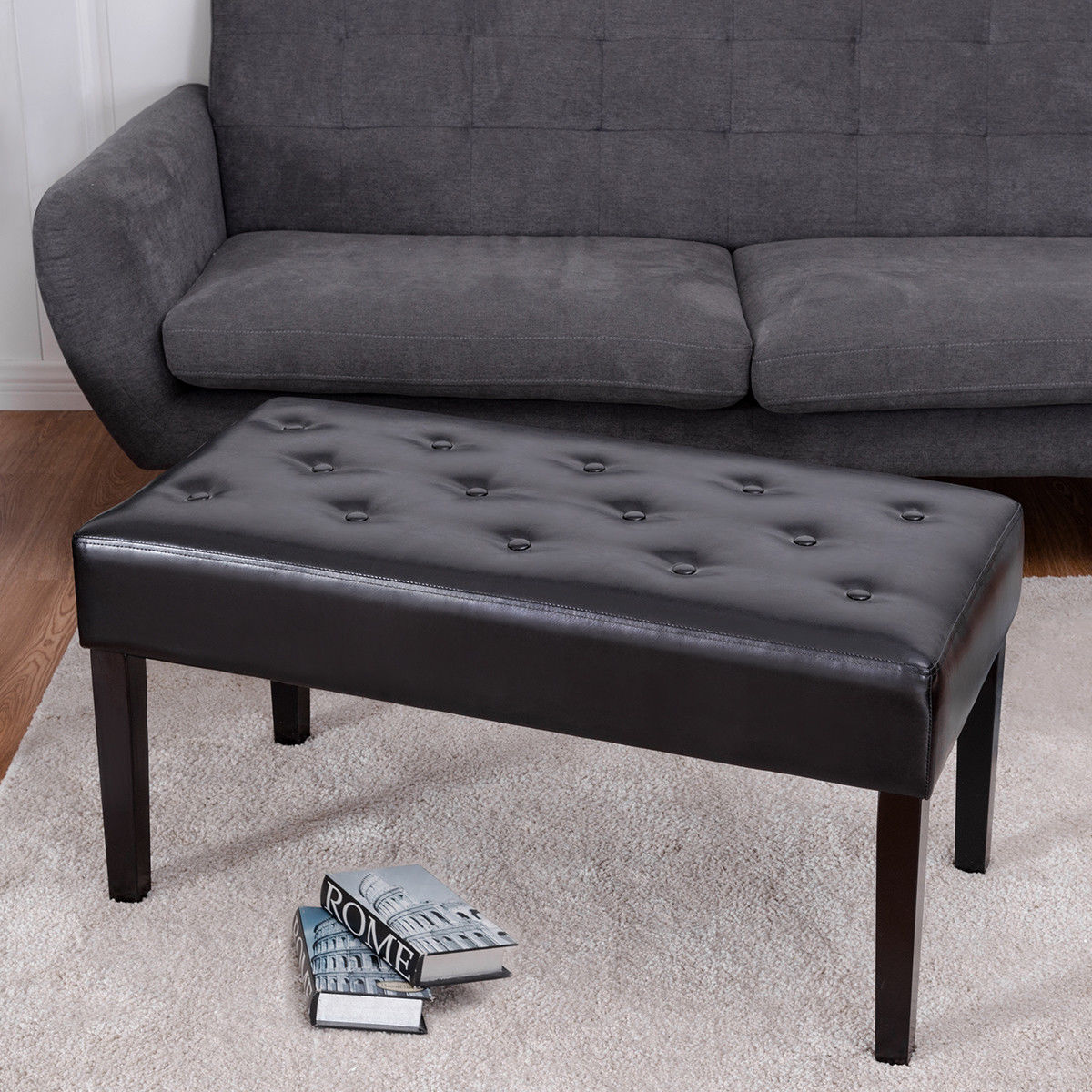 Costway Rectangle PU Leather Ottoman Bench Tufted Foot Rest Stool Solid Wood Legs Black