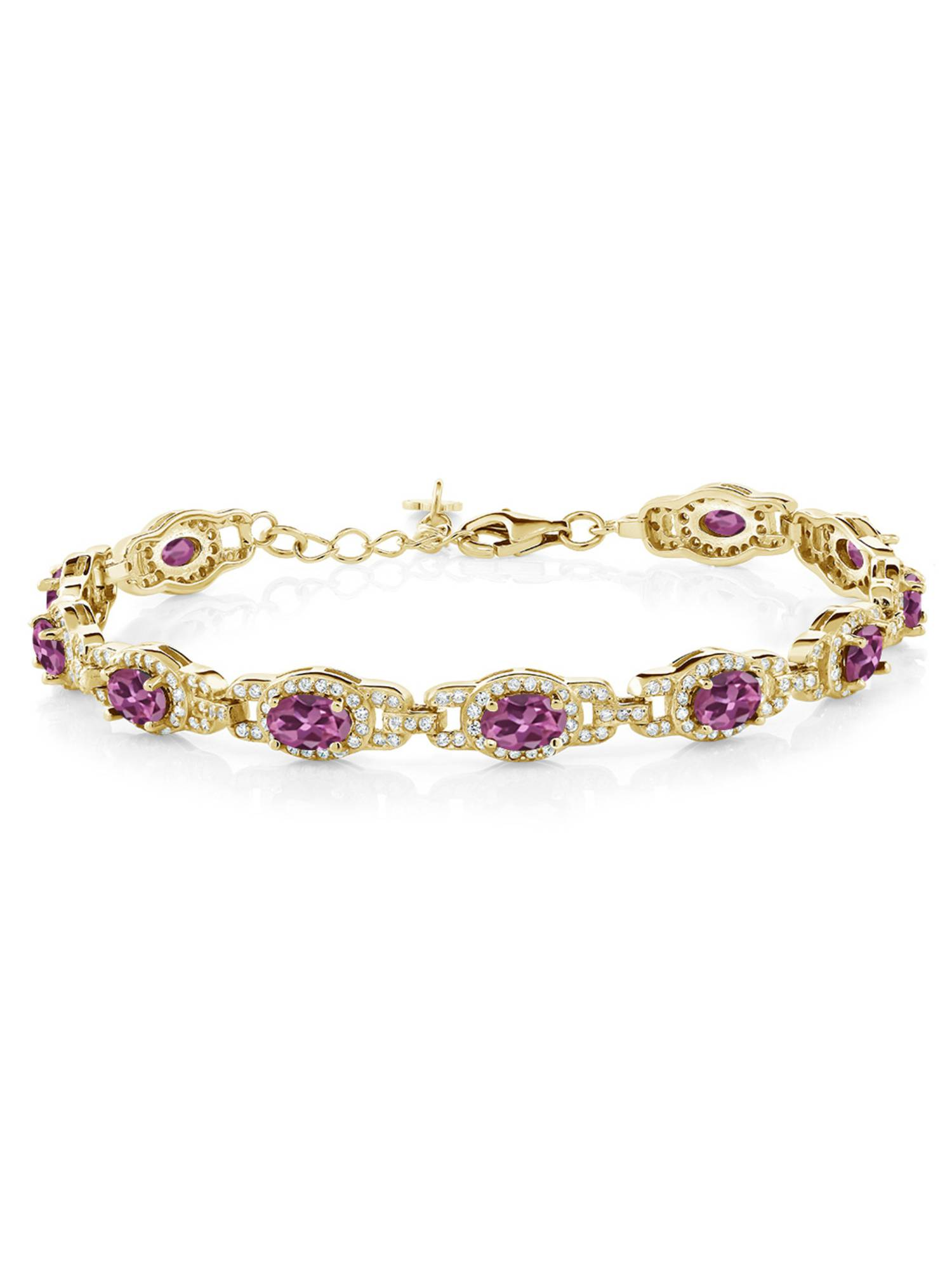 9.10 Ct Oval Pink Tourmaline 18K Yellow Gold Plated Silver Bracelet by