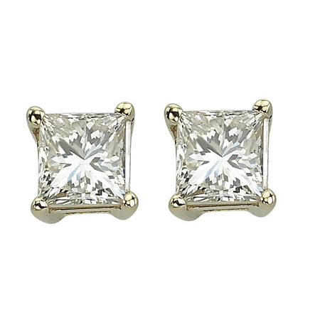 14K Yellow Gold 0.75ct Simply Modern Solitaire Princess Diamond Stud Earrings