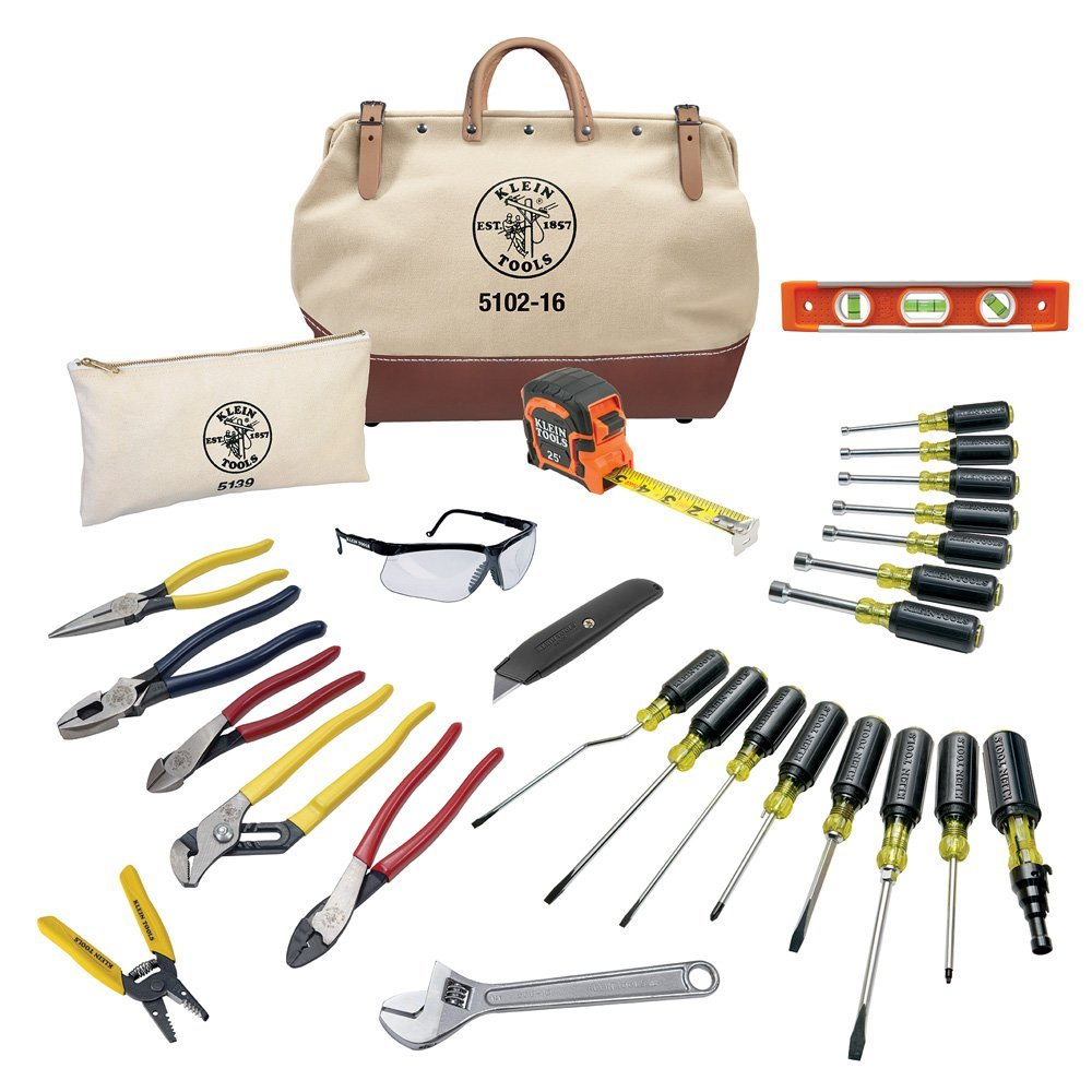 Tool Set with Utility Knife, Adjustable Wrenches, Screwdrivers, Pliers, and More, 41 Piece Klein Tools 80141... by