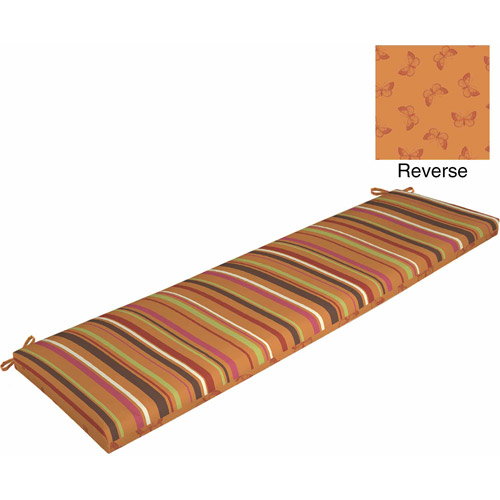 Mainstays Outdoor Bench Cushion, Orange Stripe