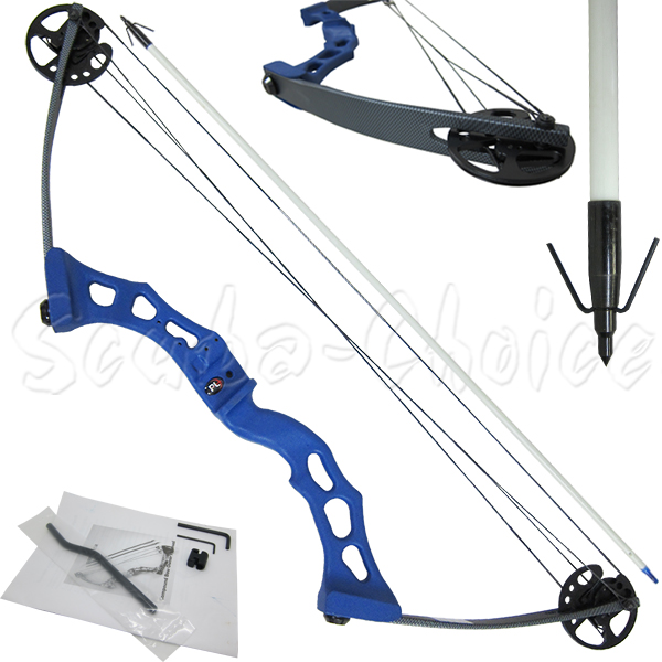 Palantic Archery Bow fishing Blue Adult Compound Bow & Torpedo Tip Arrow Set