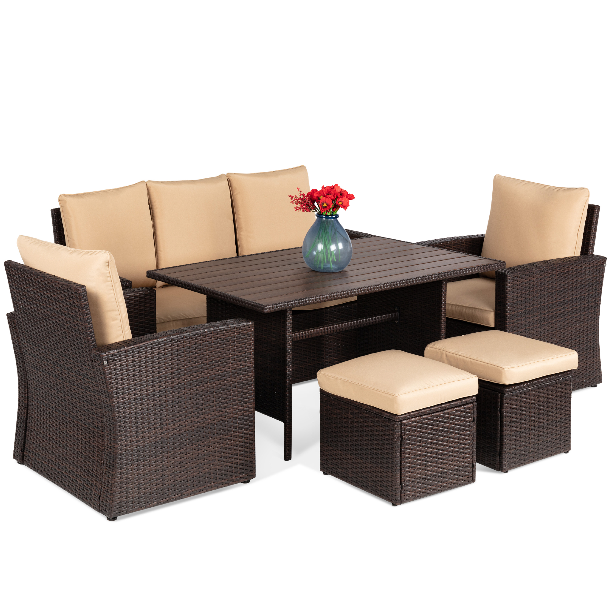 Best Choice Products 7 Seater Conversation Wicker Dining Table Outdoor Patio Furniture Set W Cover Brown Beige Walmart Com Walmart Com