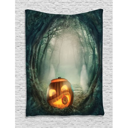 Halloween Decorations Tapestry, Scary Halloween Pumpkin Enchanted Forest Mystic Twilight Party Art, Wall Hanging for Bedroom Living Room Dorm Decor, 40W X 60L Inches, Orange Teal, by - Dorm Door Decorations For Halloween