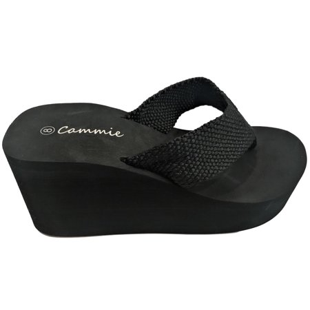 - L-2155HH Women High Wedge Platform Slides Flip Flop Open Toe Sandal Black