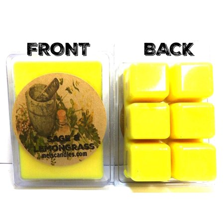 Lemongrass Sage - Sage and Lemongrass - 3.2 Ounce Pack of Soy Wax Tarts - Scent Brick, Wickless Candle