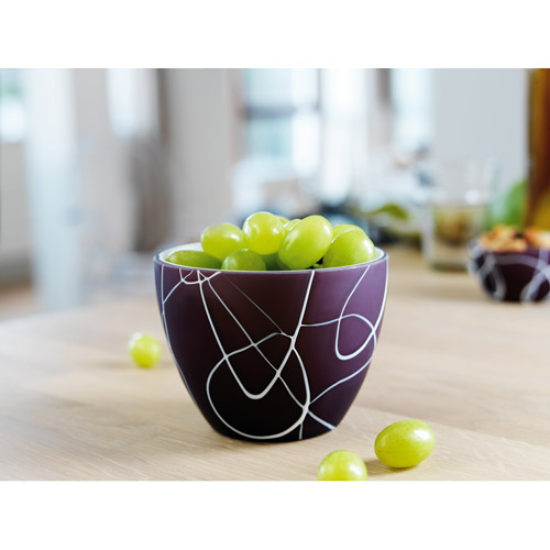 Herstal Small Glass Bowl, Purple Contrast