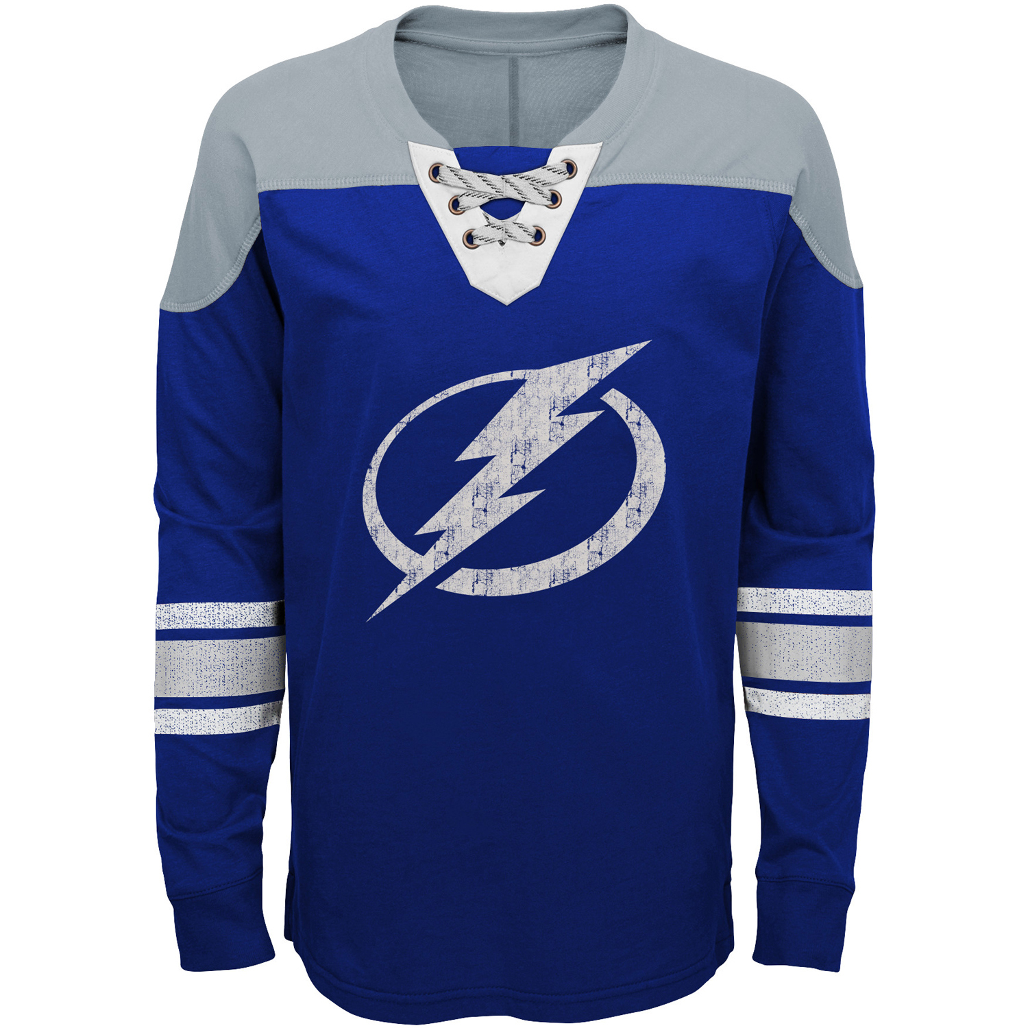 Tampa Bay Lightning Youth Perennial Hockey Lace-Up Crew Sweatshirt Blue Gray by Outerstuff
