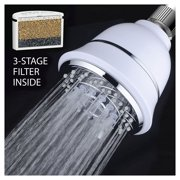 AquaCare By HotelSpa® SpiralFlo 4-inch Chrome Face / 6-Setting Filtered Shower Head with 3 Stage Shower Water Filter Cartridge Inside /  White Finish