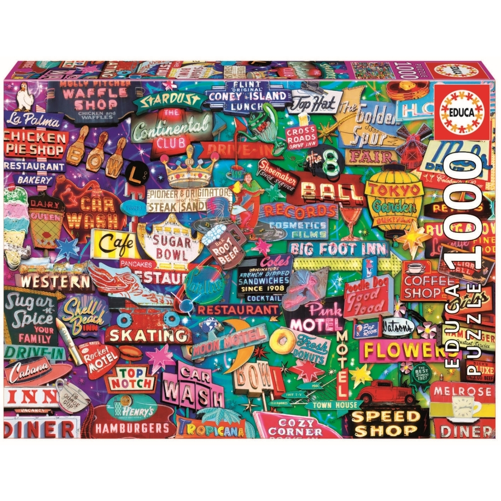 Retro Neon Dream 1000 Piece Puzzle,  Assorted Jigsaw Puzzles by John N. Hansen