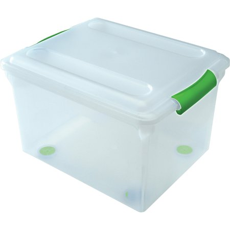 Iris Store and Slide Letter and Legal Size File Box, Green Handle, Clear