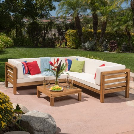 Oana Wooden 4 Piece Patio Sectional Sofa Set