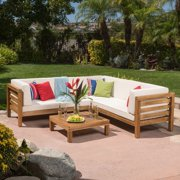 Oana Wooden 4 Piece Patio Sectional Sofa Set