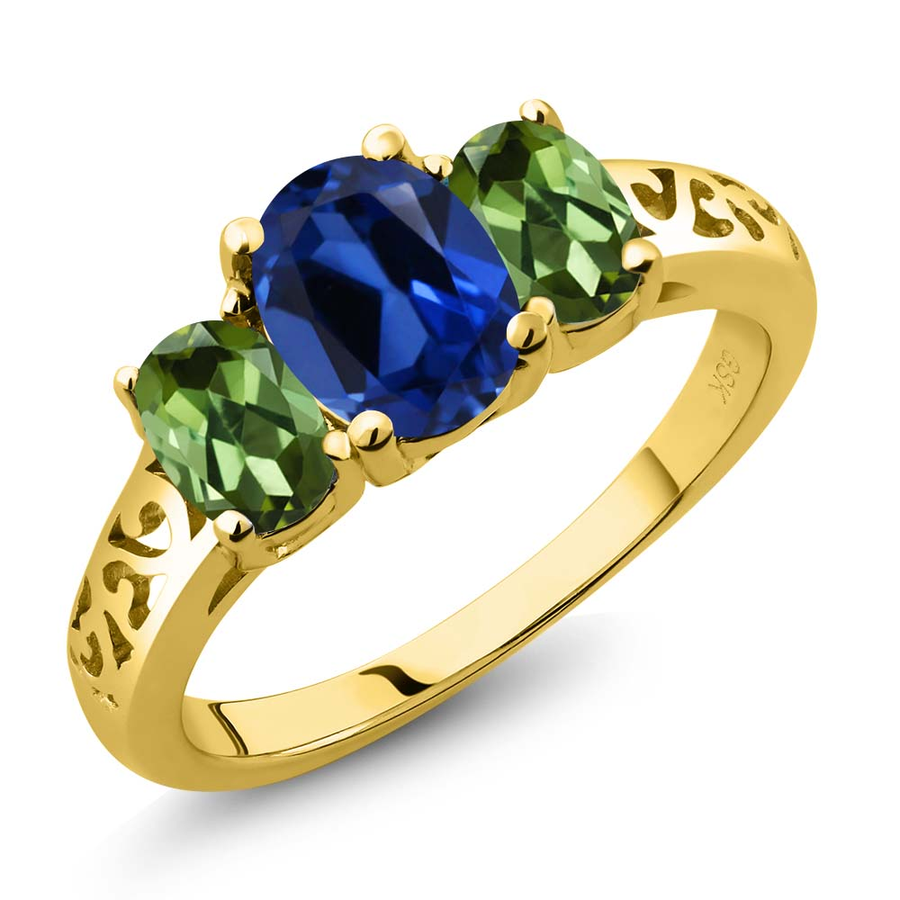 2.60 Ct Oval Blue Simulated Sapphire Green Tourmaline 14K Yellow Gold 3-Stone Ring by