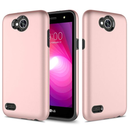 LG X Power 2/ LG Fiesta LTE/LG X Charge/LG K10 Power Case, TownShop Rose Gold Hard Rubber Impact Dual Layer Shockproof Silicone Bumper Case for LG X Power 2 / K10 Power/LG Fiesta LTE/LG X Charge