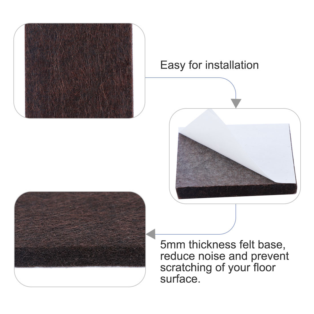"Felt Furniture Pads Square 7/8"" Self Adhesive Anti-scratch Floor Protector 70pcs - image 2 de 7"