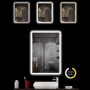 Reactionnx Energy-saving LED Back Light Bathroom Mirror, 32 x 24 Inch Wall Mounted Illuminated Mirror, Anti-Fog Lighted Touch Makeup Vanity Mirror with 3 Colors Light