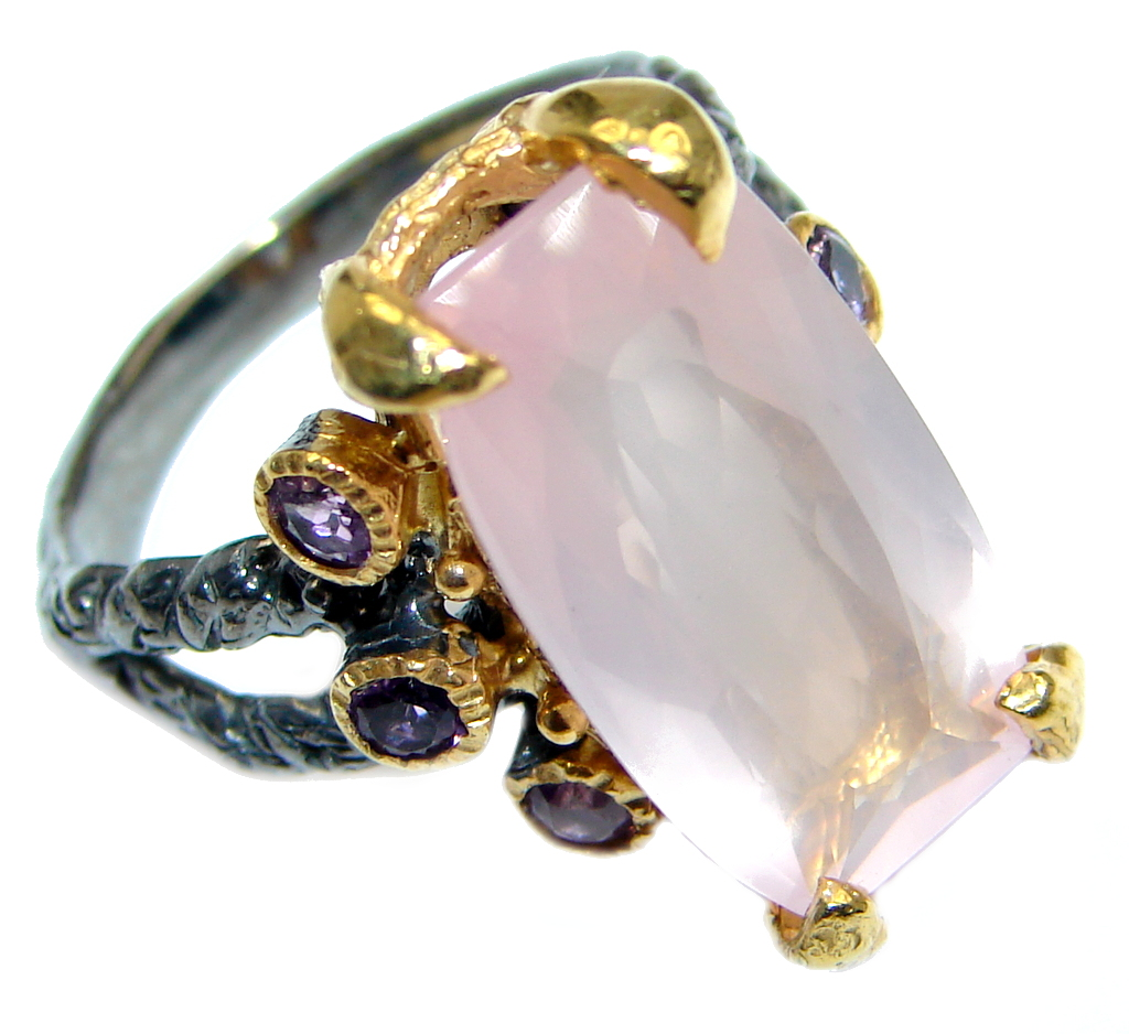 Real Beauty Rose Quartz Gold plated over Sterling Silver handmade  Ring size 7 3/4 by SilverRush Style