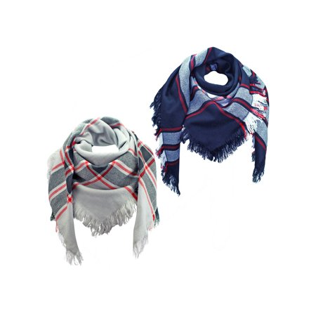Navy Blue Gray Wool Plaid Oversized Blanket Scarf 2 Pack