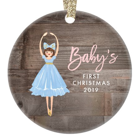 Nutcracker Ballet Gifts (Girl Babys First Christmas Ornament 2019, Newborn Baby's 1st Gift Ideas New Baby, Nutcracker Ballet Sugarplum Fairy Xmas Ceramic 3