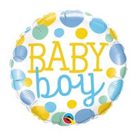 Qualatex 88918 18 in. Baby Boy Dots Flat Foil Balloon - Pack of 5