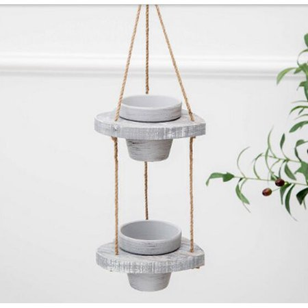 2-Tier Hanging Planters Removable Ceramic Planter Pots Modern Design Arranged in Heart Shape Wooden Bases with Decorative Hemp of Rope ()