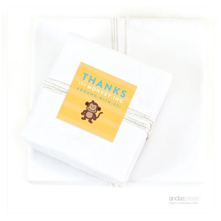 - Thanks For Monkeying Around Jungle Safari Adventure Birthday Square Gift Labels, 40-Pack
