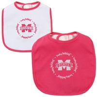 Mississippi State Bulldogs Infant 2-Pack Baby Bib Set - Pink/White