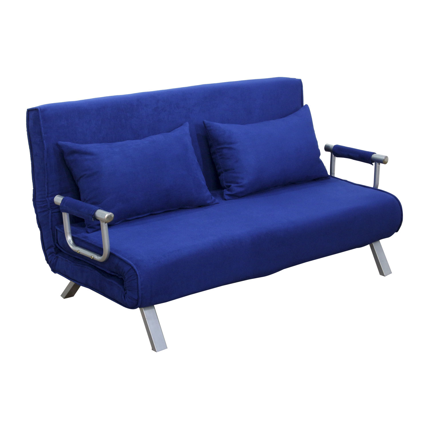 Homcom 61 Quot Folding Futon Sleeper Couch Sofa Bed Blue