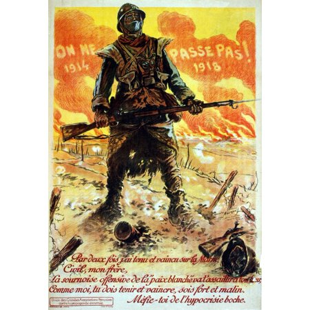 WWI France They Shall Not Pass 1914    1918 Twice Have I Resisted An Poster (1914 Poster Print)