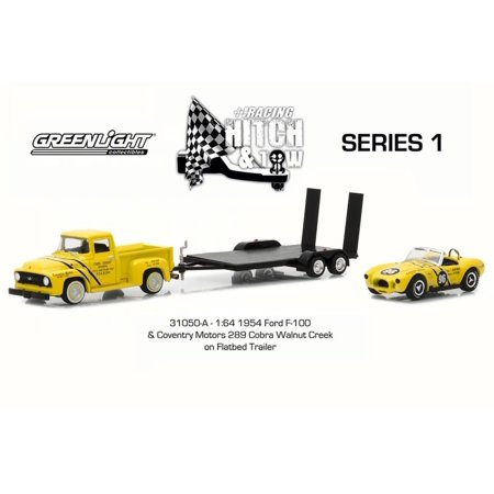 1954 Ford F-100 w/ Coventry Motors 289 Cobra Walnute Creek on Flatbed Trailer, Yellow w/ Black - Greenlight 31050A/24 - 1/64 Scale Diecast Model Toy Car