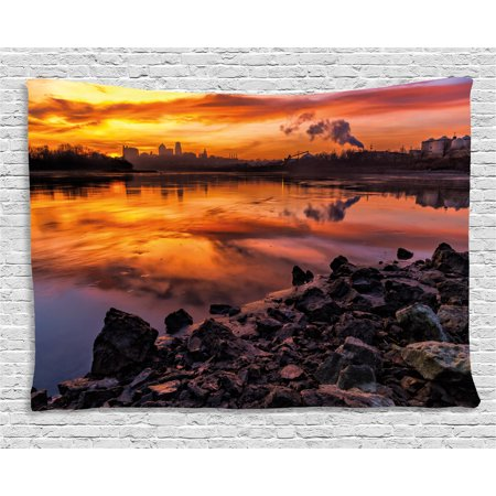 Landscape Tapestry, Usa Missouri Kansas City Scenery of a Sunset Lake Nature Camping Themed Art Photo, Wall Hanging for Bedroom Living Room Dorm Decor, 60W X 40L Inches, Multicolor, by Ambesonne