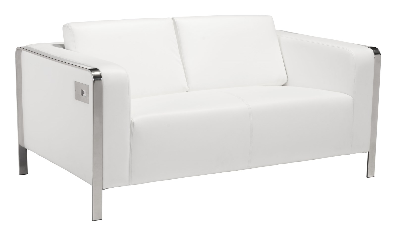 Merveilleux Modern Contemporary Urban Living Room Office Loveseat Sofa, White   Faux  Leather Leatherette Stainless Steel