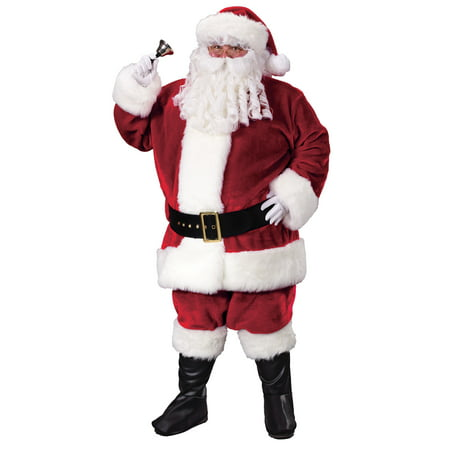 Santa Plush Crimson Adult Halloween Suit - Adult Santa Outfit