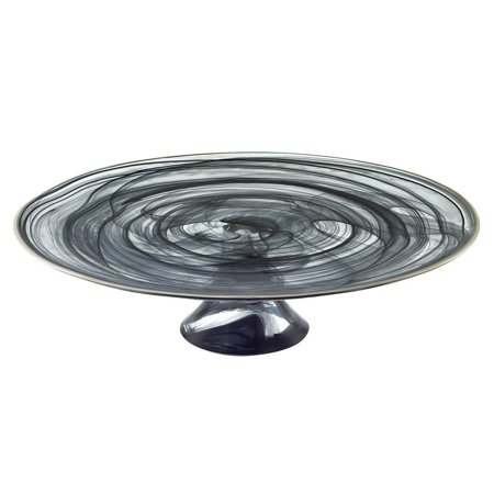 """- Black Alabaster Glass Footed Cake Plate with Hand finished Silver Trim 13"""" Wide, Hand Wash Only - Food Safe By Badash"""