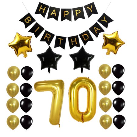 Outgeek 70th Birthday Decorations Party Balloons Glossy Foil Latex Star Happy
