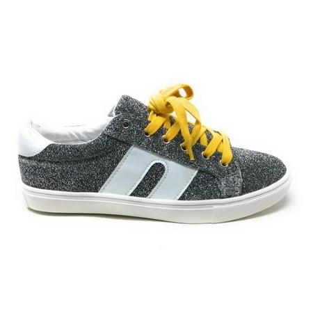 Steve Madden Womens SM1 Sneaker Shoe Silver Glitter Size 6.5 M US NWOB