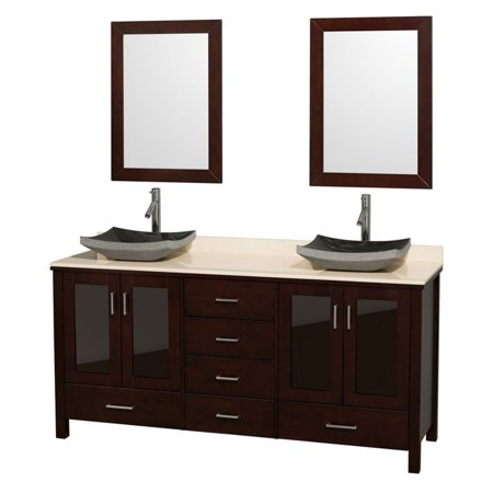 Wyndham Collection Lucy 72 Inch Double Bathroom Vanity In Espresso White Carrera Marble Countertop Pyra Bone Porcelain Sinks And 24 Mirrors
