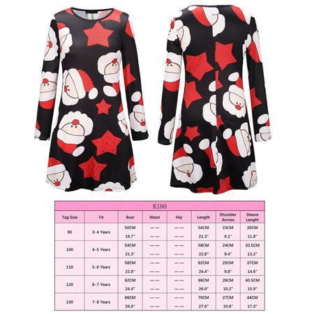 Ustyle Mother Kids Matching Outfits Long Sleeve Dress Christmas Pringting Short Dress - image 7 of 9