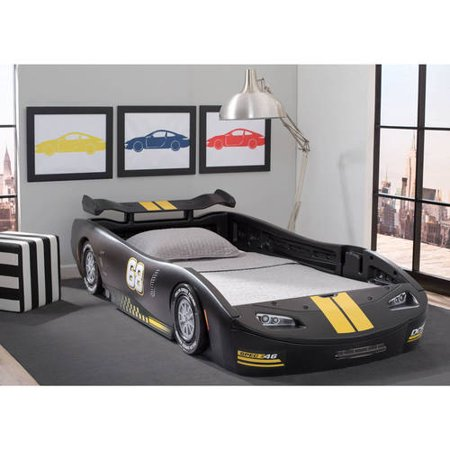Delta Children Turbo Race Car Twin Bed Black